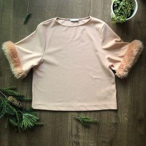 Zara Dusty Pink Top with Fur Sleeve Cuffs ⭐️